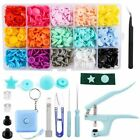 Snap Buttons Containers Clothing Sewing Press Stud Fasteners Kit Blue Pink Tool