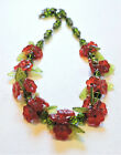 Vintage Red Flowers Green Leaves Lampwork Art Glass Bead Necklace AU21BN04