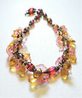 Vintage Yellow Pink Flowers Lampwork Art Glass Bead Necklace AU21BN18