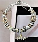 Authentic Pandora Bracelet Gold Silver LOVE STORY Heart With European Charms New