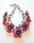 Vintage Pink Clear Flowers Leaves Lampwork Art Glass Bead Necklace AU21BN33