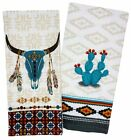 Southwest Cactus Skull Kitchen Towels Set of 2 Native American Style Print