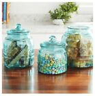 Pioneer Woman Cassie GLASS Canister Set Teal 33 535  80 Oz w Lids