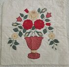 Vintage Quilt Block Red Yellow Green Appliqued Flowers Hand Pieced  Quilted 16