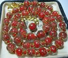 Red Venetian Murano Glass Gold Foil Bead Vintage Style 18 Long NECKLACE
