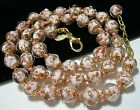 Pale Pink Venetian Murano Glass Gold Foil Bead Vintage Style 18 Long NECKLACE