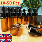 50 100 X 10 20 ml Empty Brown Amber Glass Dropper Pipette Bottles Essential Oils