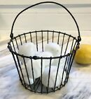 8 antique hand blown Glass NEST EGGS in Childs small Victorian Iron WIRE BASKET
