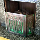 3 Panel Fireplace Screen Emerald Green Tiffany Style Stained Glass 26inTx38inW