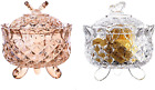 Maypink Crystal Candy Dish Glass Jar with Crystal Lid Candy Dish Cookie Tin Bisc