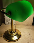 Art Deco Bankers Brass Desk Lamp Green Glass Vintage Pull Chain Light Authentic