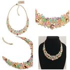 NWT NATASHA Gold Tone Glass Crystal With Colorful Translucent Flowers Necklace
