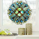 12 In Blue and Aqua Floral Tiffany Style Stained Glass Window Panel Suncatcher