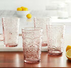 The Pioneer Woman Rose Glass Tumblers Embossed Old Fashioned Cup Set 4 Piece