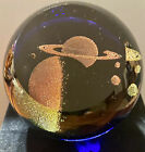 Glass Eye Studio Paperweight SATURN Celestial Series Blue Signed GES 95