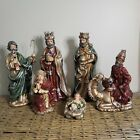 VINTAGE HOLIDAY TIME 6 PIECE HAND PAINTED PORCELAIN NATIVITY SET UP TO 12 TALL