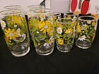Vintage Retro Beautiful Cute Daisy Floral Glass Cups Set of 8 4 large 4 small