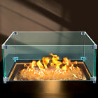 VEVOR Square Gas Table Wind Guard Clear Tempered Glass Flame Shield 14x14x6 inch