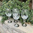 Halloween Scaredy Black Cat Metal and Glass Wine Goblets Set of 4