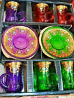 Turkish Tea Set Mixed Colours of 12 Gold Plated Holder Glass Cups Floral Gift