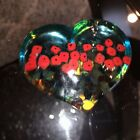 Robert Held Heart Shaped Paperweight California Poppies 2 Glass Signed