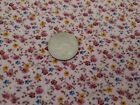 Vintage Cotton Fabric Pink Calico Floral Small Print Flowers Quilting 3 Yards