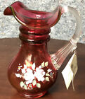 Fenton Art Glass Pansies Country Cranberry Hand Painted Pitcher Signed w Tag