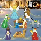Holy Nativity Yard Signs with LED Lights Religious Christmas Yard Signs Manger