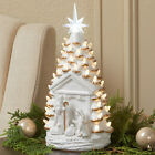 Lighted Nativity Tree Ceramic Christmas Decor with LED Lights for Table Mantle
