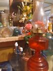 Beautiful VINTAGE RED GLASS OIL LAMP b1