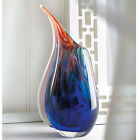 Handcrafted Blown Glass Vase Abstract Modern Design 10In Tall In Hues of Blue