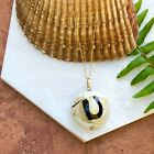 14KT Yellow Gold  Murano Art Glass Circle Bead Pendant  Gold Necklace NEW 18