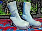 Vintage Durango Green Leather Booty Chunky Heel Zipper Ankle Boots Retro Mod 65