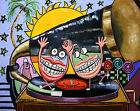 HAPPY TEETH DENTAL  ART ORIGINAL PAINTING TOOTH  ART DANCING  ANTHONY FALBO