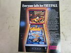 Original Stern Freefall Pinball Game Flyer