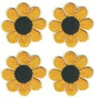 1 Spring Yellow Black Daisy Flower Embroidery Patch Lot of 4