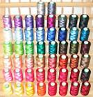 NEW 60 LARGE RAYON MACHINE EMBROIDERY THREAD + RACK FOR BROTHER JANOME SINGER