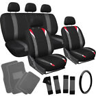 21pc Set Red Black Auto Car Seat Cover Steering Wheel Head Rests Gray Floor Mats