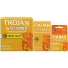 Trojan Ultra Ribbed Increased Stimulation Lubricated Condoms - Choose Quantity