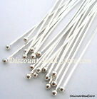 10pcs solid 925 Sterling Silver 20 gauge wire 3 ball Head pin Headpin F72