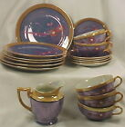Cherry Blossom Blue & Peach Luster Dessert Set Plates Cups Saucers Japan Vintage