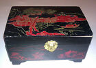 Vintage Black and Red Japan Fishing Scene Wooden Trinket Jewelry Box