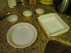 VTG 5 Pc Fire King Peach Luster Ovenware Baking Casserole Dish Pie Custard Cup