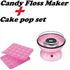 ELECTRIC CANDY FLOSS MAKER MACHINE AND 20 CAKE MOULD POP SET PINK GIRLS GIFT NEW