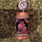 GERMAN BEER STIEN WITH SILVER CAP MARKED INSIDE HAND PAINTED ROMANTIC COUPLE