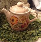 VINTAGE SADLER MADE IN ENGLAND HAND PAINTED TEA POT MID CENTURY COLORS AWESOME