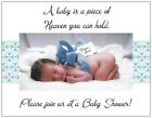 20 BABY BOY Blue Bow Shower INVITATIONS Postcards or Flat Cards Env