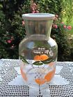 LARGE VINTAGE JUICE DECANTER WITH WHITE LID AND ORANGE  MAY BE FEDERAL GLASS