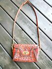 Vtg Clifton's Hand Tooled RED Leather  Cross Body Purse Bag- Floral design