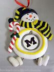 Michigan Wolverines Clay Dough Snowman Christmas Tree Ornament